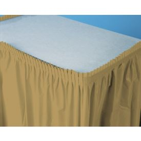 Glittering Gold Table Skirts Plastic 14'