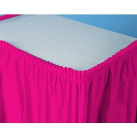 Hot Magenta Table Skirts Plastic 14'