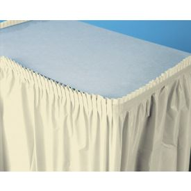 Ivory Table Skirts Plastic 14'