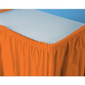 Sunkissed Orange Table Skirt Plastic 14'