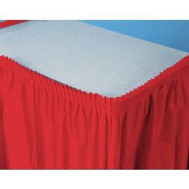 Classic Red Table Skirt Plastic 14'