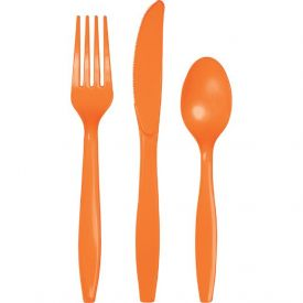 Sunkissed Orange Plastic Cutlery Assortment, Premium