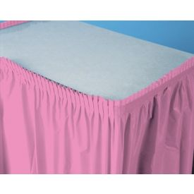 Candy Pink Table Skirt Plastic 14'