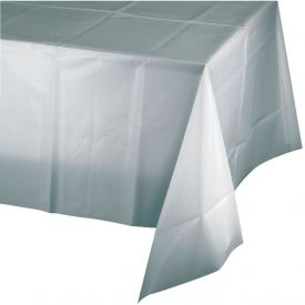Shimmering Silver Table Cover, Plastic 54