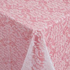 White Lace Look Plastic Table Covers 54