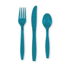 Turquoise Plastic Cutlery Assortment, Premium