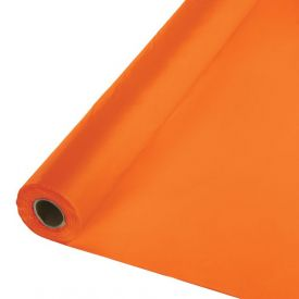 Sunkissed Orange Plastic Tablecover Banquet Roll, 250'
