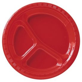 Classic Red Banquet Plates Divided 10