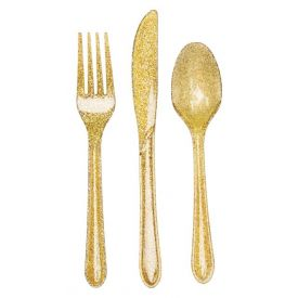 Glitz Gold Plastic Glitter Cutlery Assortment