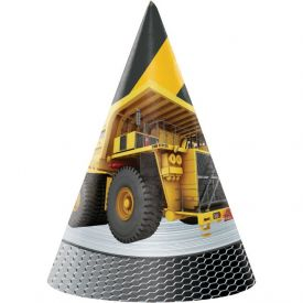Construction Birthday Zone Paper Party Hats, Child Size, Foil