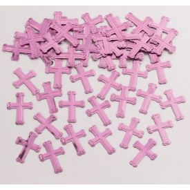Confetti, Embossed Pink Crosses