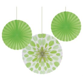 Fresh Lime Dot and Solid Hanging Paper Fans 12