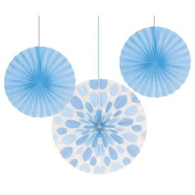 Pastel Blue Dot and Solid Hanging Paper Fans 12