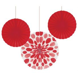 Classic Red Dots Paper Fans, 12