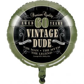 Vintage Dude Metallic Balloon, 60th