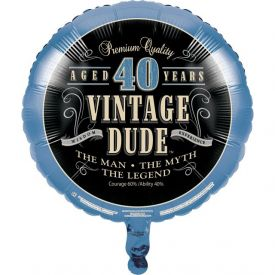 Vintage Dude Metallic Balloon, 40th
