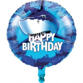 Shark Splash Metallic Balloon, Happy Birthday