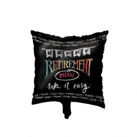 Retirement Chalk Metallic Balloon, Square