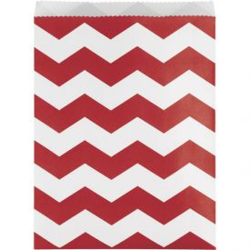 Classic Red Chevron Paper Treat Bags Large