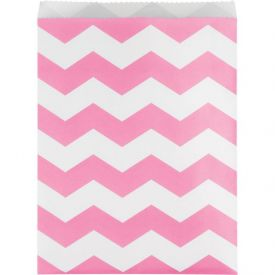 Paper Treat Bag, Large Chevrons, Candy Pink