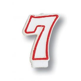 Candle, Numeral Red Outline, 7