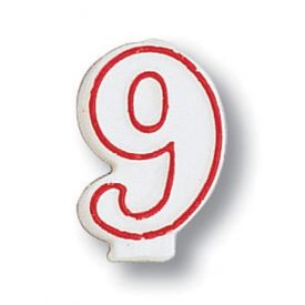 Candle, Numeral Red Outline, 9