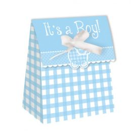 Blue Gingham It's a Boy Favor Boxes Diecut with Ribbon