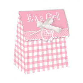 Pink Gingham It's a Girl Favor Boxes Diecut with Ribbon