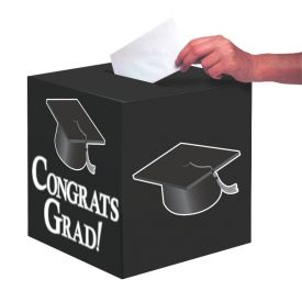 Black Congrats Grad Card Box