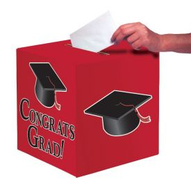 Red Congrats Graduation Card Box