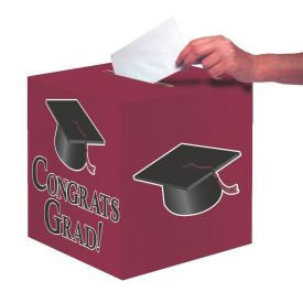 Burgundy Congrats Grad Card Box