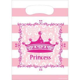 Pink Princess Royalty Loot Bags, Plastic