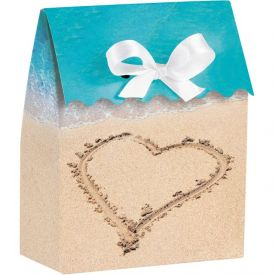Beach Love Favor Bags Diecut with Ribbon
