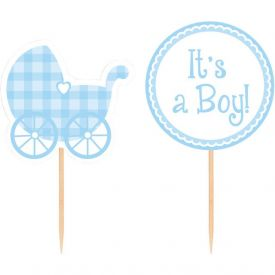 Blue Gingham Cupcake Picks It's a Boy!