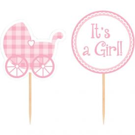 Pink Gingham Cupcake Picks It's a Girl!
