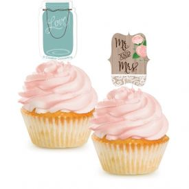Rustic Wedding Cupcake Topper