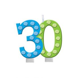 Bright And Bold Candle Numeral 30 Molded with Balloon