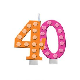 Bright And Bold Candle Numeral 40 Molded with Balloon