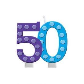 Bright And Bold Candle Numeral 50 Molded with Balloon