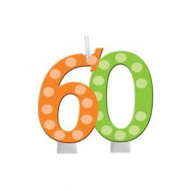 Bright And Bold Candle Numeral 60 Molded with Balloon