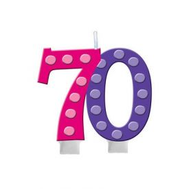 Bright And Bold Candle Numeral 70 Molded with Balloon