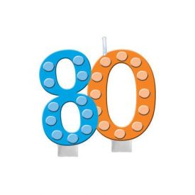 Bright And Bold Candle Numeral 80 with balloon