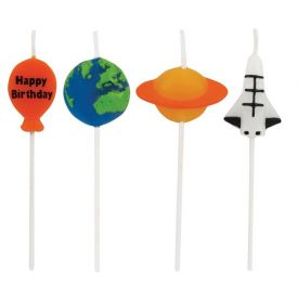 Candles Space Themed Molded Pick Sets Happy Birthday