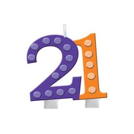 Bright And Bold Candle Numeral 21 Molded