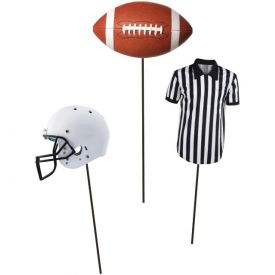 Football, Helmet, and Referee Combo Centerpiece Sticks