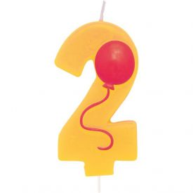 Candle Numeral 2 Molded with Balloon