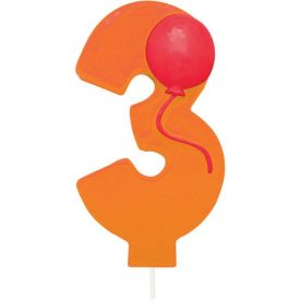 Candle Numeral 3 Molded with Balloon