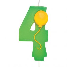Candle Numeral 4 Molded with Balloon