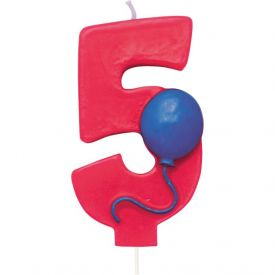 Candle Numeral 5 Molded with Balloon