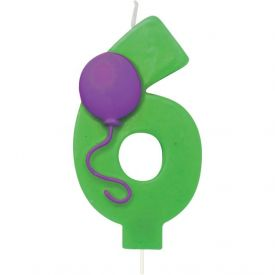 Candle Numeral 6 Molded with Balloon